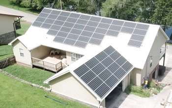 Completed installation of a home solar power system in Atlanta