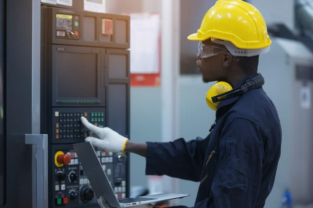 Industrial electrician installing an industrial control system